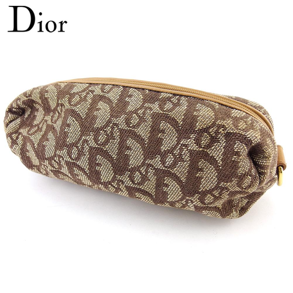 【中古】 ディオール ポーチ 化粧ポーチ レディース トロッター ベージュ キャンバス×レザー Dior T18385