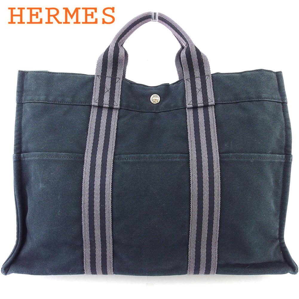 【中古】 エルメス トートバッグ ハンドバッグ レディース メンズ フールトゥトートMM フールトゥ ブラック グレー 灰色 綿100% HERMES T18388