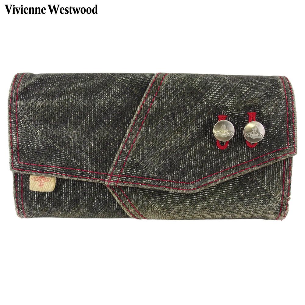 【中古】 ヴィヴィアン ウエストウッド 長財布 さいふ ガマ口 財布 さいふ レディース オーブボタン デニム ブラック レッド ベージュ シルバー デニムキャンバス×レザー Vivienne Westwood E1597