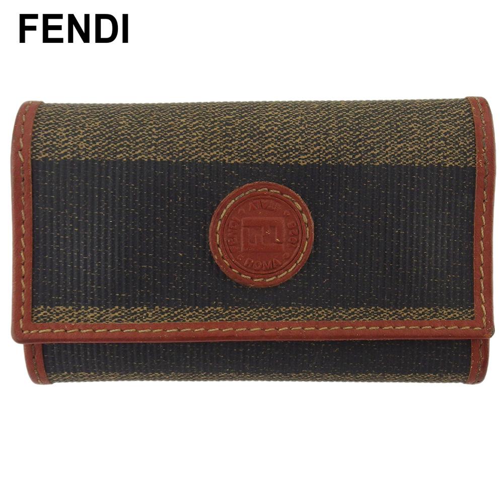 【送料無料】 【1点限り】 【中古】 フェンディ キーケース 6連キーケース レディース メンズ ペカン ブラック ベージュ ブラウン PVC×レザー FENDI 【フェンディ】 T18396