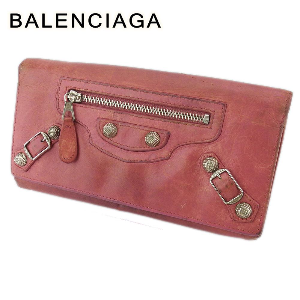 【中古】 バレンシアガ 長財布 さいふ L字ファスナー 財布 さいふ レディース ジャイアントコンチネンタル ピンク シルバー レザー BALENCIAGA T18402
