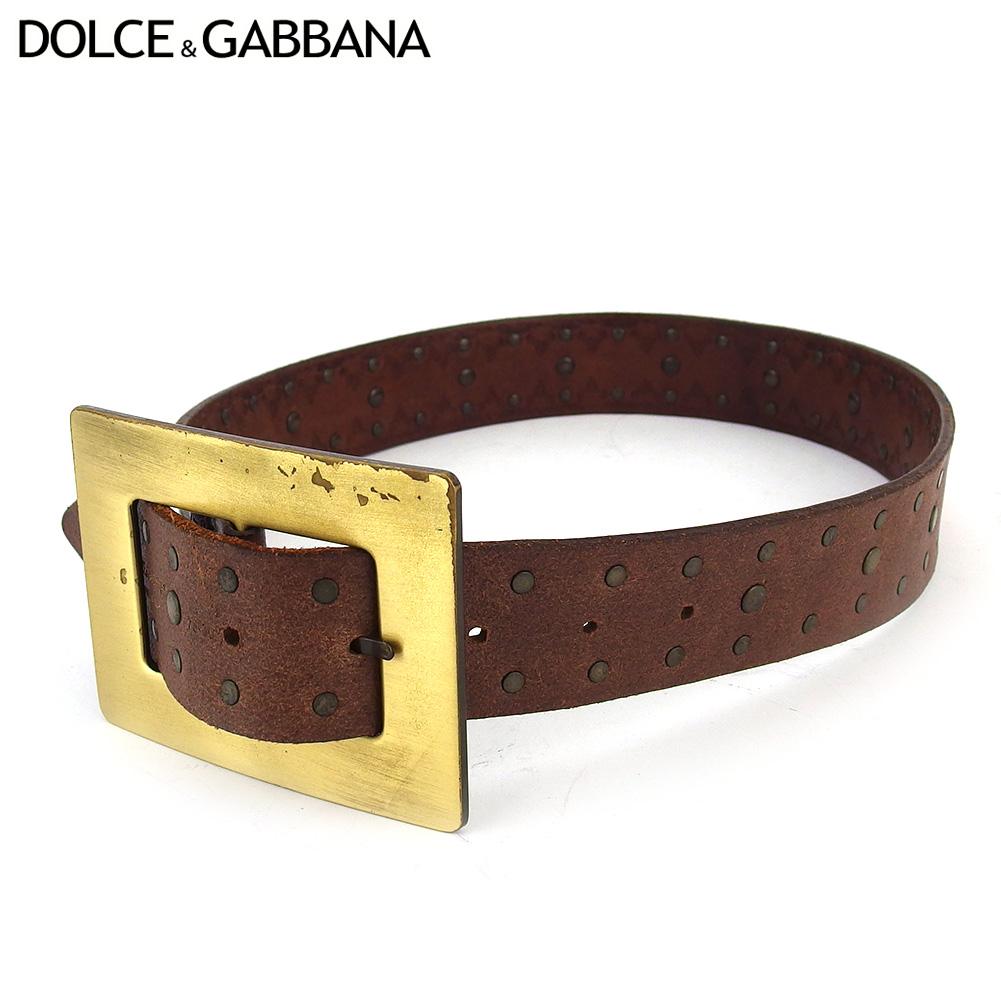 ドルチェ ガッバーナ ベルト シングルピン レディース ♯75 30サイズ ドルガバ スクエアバックル ブラウン ゴールド レザー×ゴールドメッキ DOLCE GABBANA T18516oCBerdxW