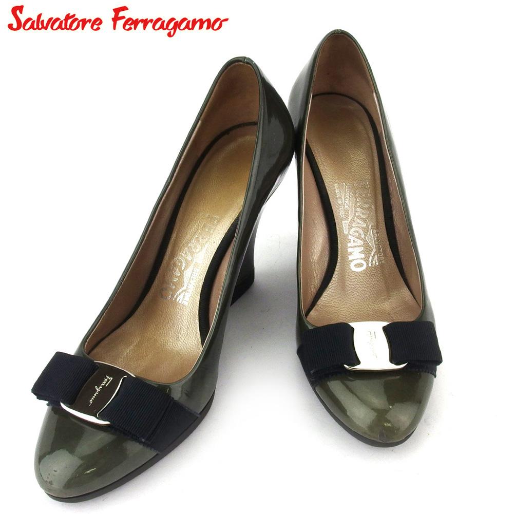 【中古】 サルヴァトーレ フェラガモ パンプス シューズ 靴 レディース #5 ヴァラリボン グリーン グレー 灰色 エナメルレザー Salvatore Ferragamo F1626