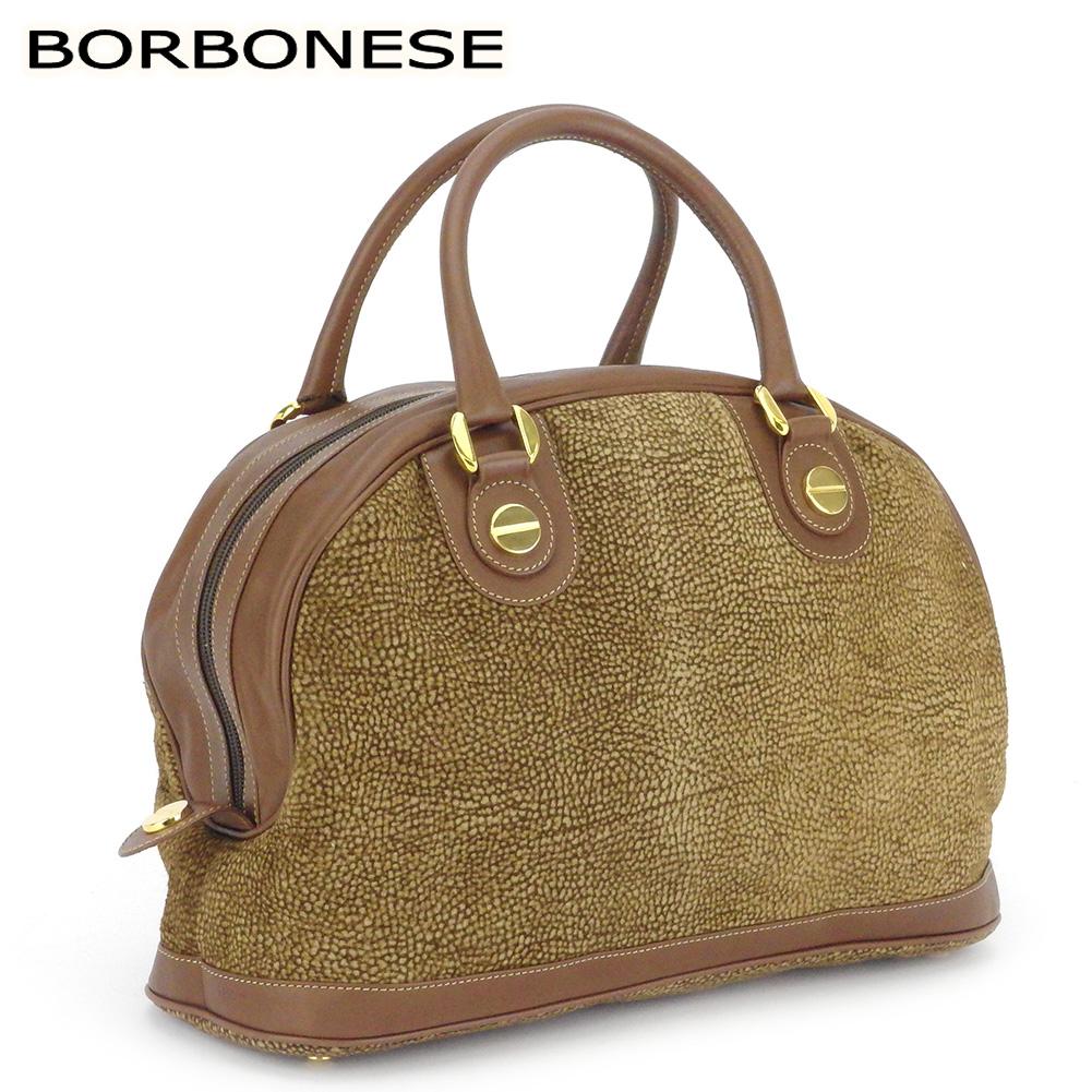 ボルボネーゼ 人気 中古 ハンドバッグ セール特価品 バック ミニボストンバッグ BORBONESE T17767 毎日がバーゲンセール スエード×レザー うずら柄 レディース ベージュ