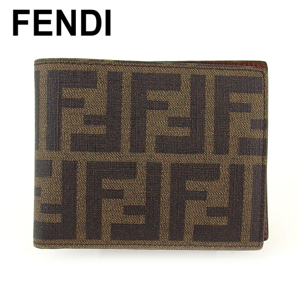 【中古】 フェンディ 二つ折り 財布 ミニ財布 レディース メンズ ズッカ ベージュ ブラック ブラウン PVC×レザー FENDI T17059