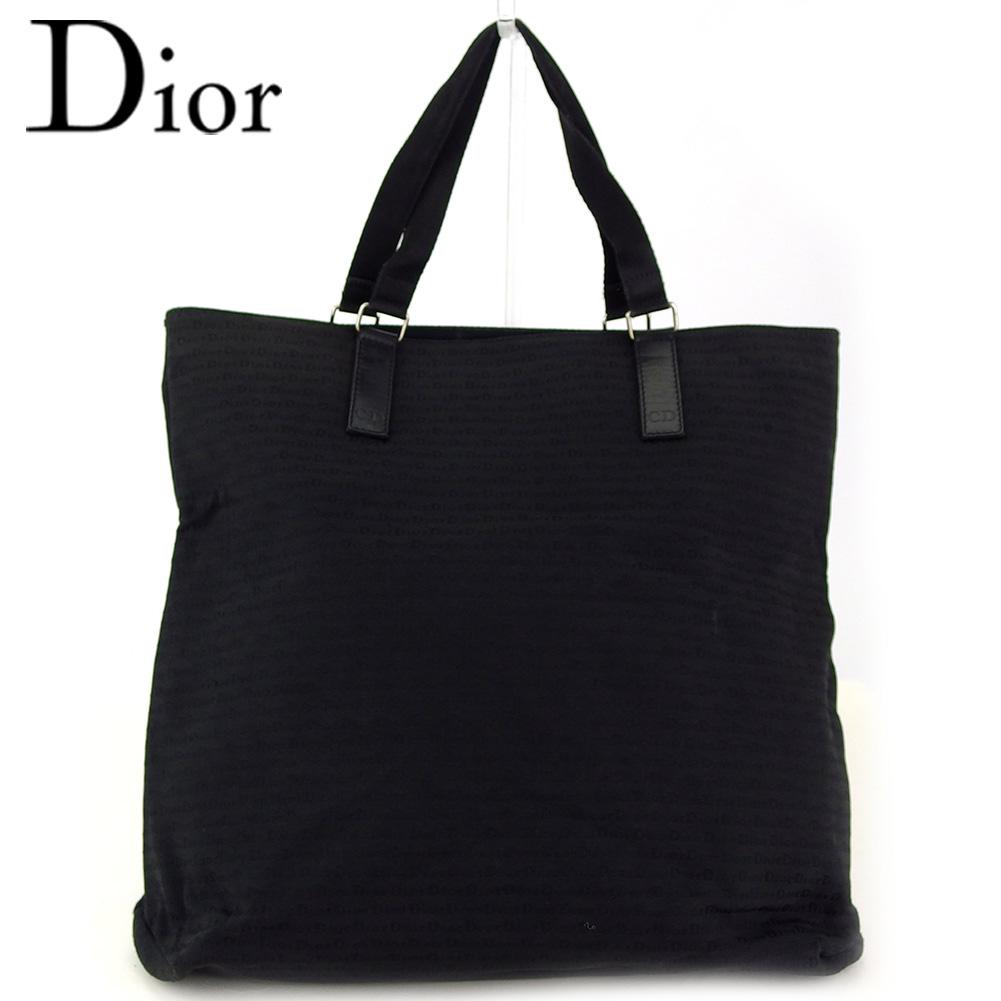 【中古】 ディオール オム トートバッグ トート ハンドバッグ メンズ ロゴ柄 ブラック シルバー キャンバス×レザー Dior Homme T17066
