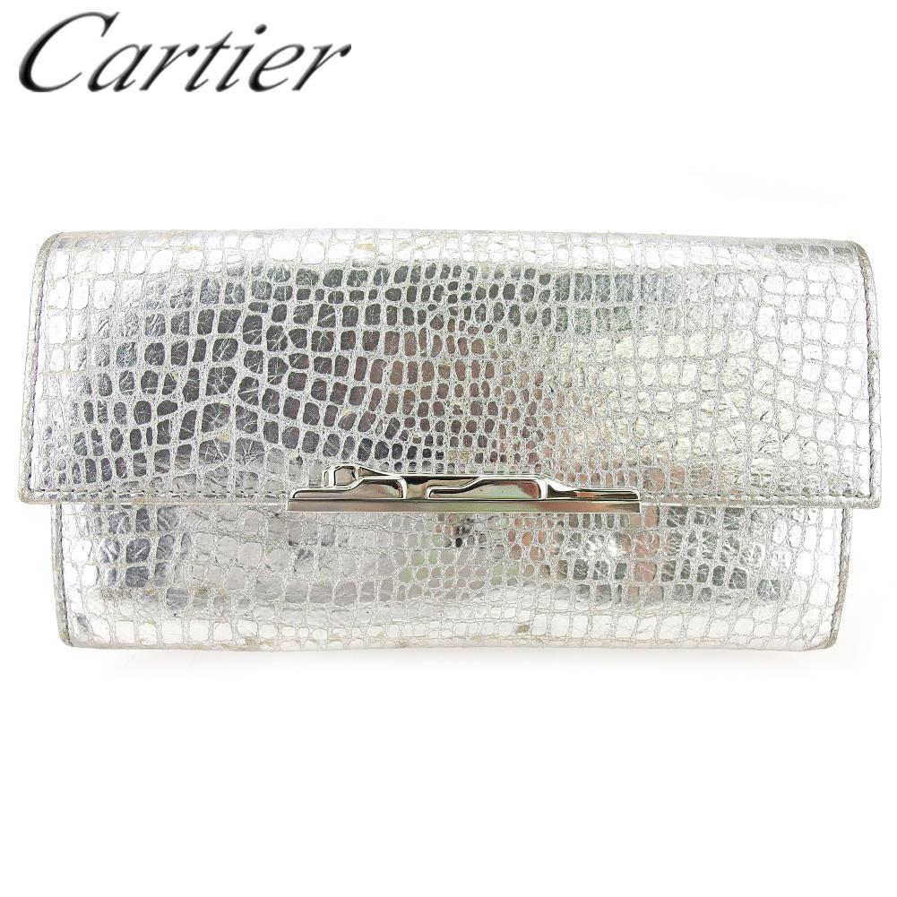 【中古】 カルティエ 長財布 ファスナー付き 財布 レディース パンテール シルバー 型押しレザー Cartier T17070