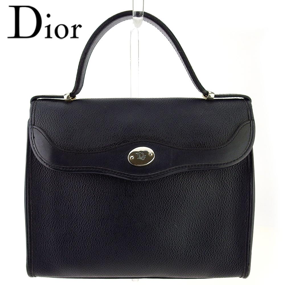 【中古】 ディオール ハンドバッグ バッグ レディース オールドディオール ロゴプレート ブラック シルバー PVC×レザー Dior T17119