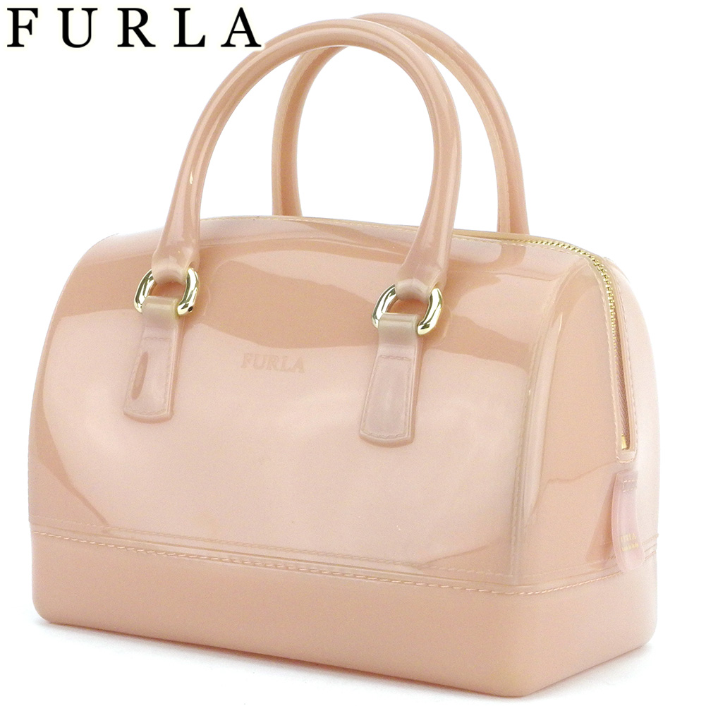 【中古】 フルラ ハンドバッグ ミニボストンバッグ レディース キャンディ ピンク ベージュ ゴールド 塩化ビニール樹脂 FURLA L3019