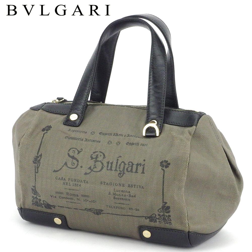 【中古】 ブルガリ ハンドバッグ ミニボストンバッグ レディース メンズ コレツィオーネ グレー 灰色 ブラウン ブラック ゴールド PVC×レザー BVLGARI L3041