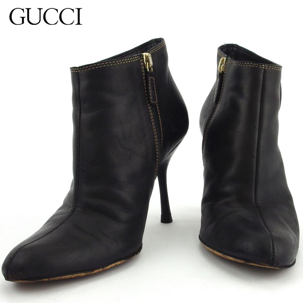 【中古】 グッチ ブーツ シューズ 靴 レディース ♯35C インターロッキングG ダブルG ブーティ ブラック ゴールド レザー GUCCI Q632 .