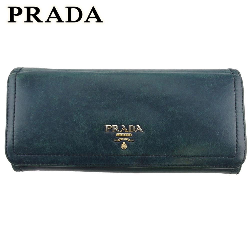 【中古】 プラダ 長財布 さいふ ファスナー付き 財布 さいふ レディース ロゴ グリーン ブルー ゴールド レザー PRADA T18209