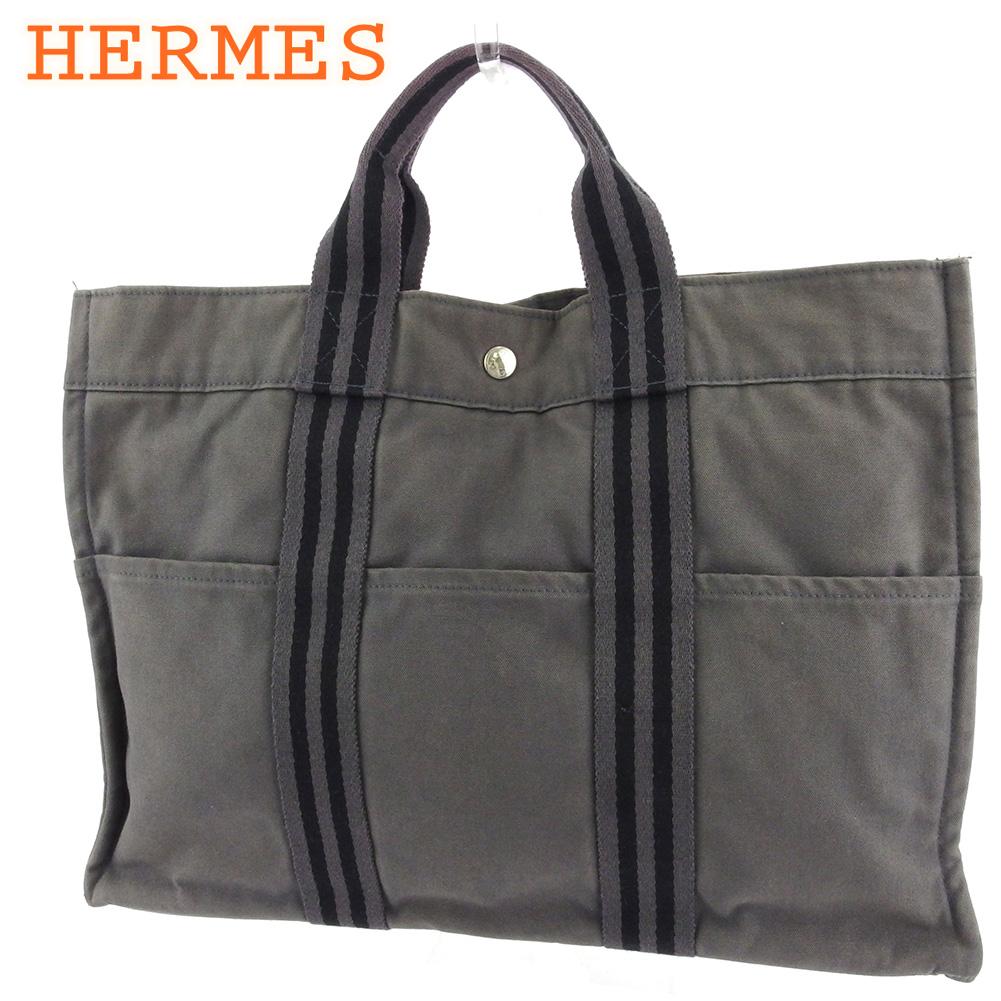 【中古】 エルメス トートバッグ ハンドバッグ レディース メンズ トートMM フールトゥ グレー 灰色 ブラック シルバー コットンキャンバス HERMES T18219