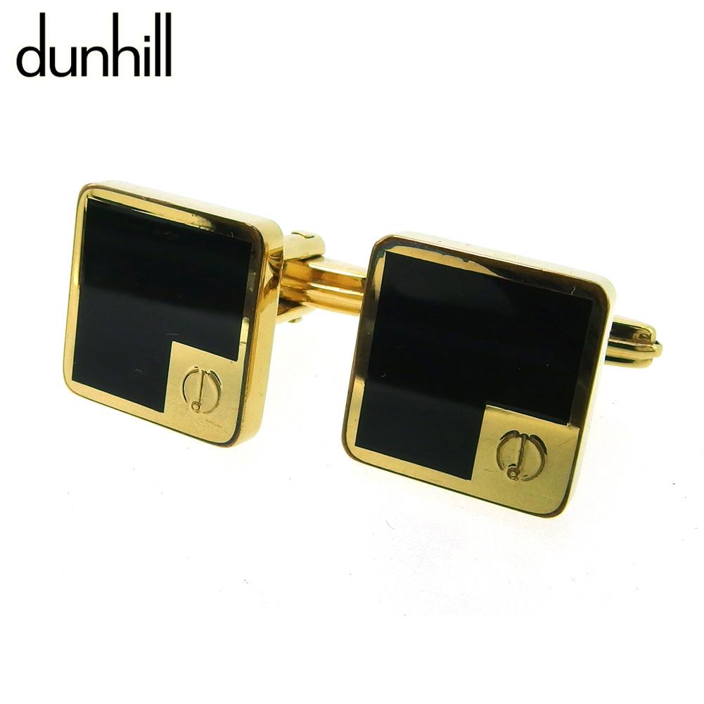 ダンヒル dunhill cuffs 中古 カフス カフリンクス メンズ スクエア dマーク T18226 ゴールド金具 ゴールド ブラック 買収 Seasonal Wrap入荷 スウィヴル式