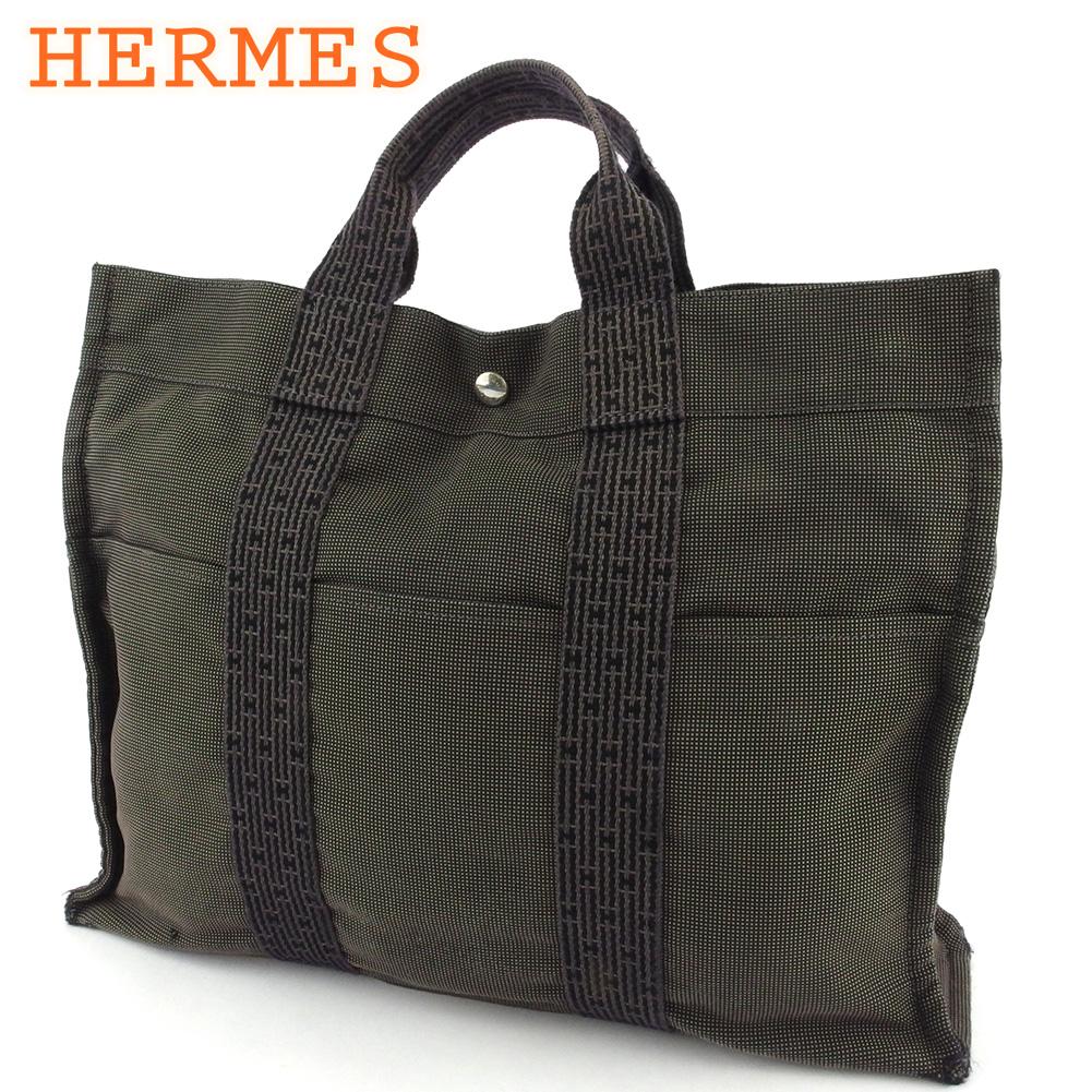 【中古】 エルメス トートバッグ ハンドバッグ レディース メンズ トートMM エールライン ブラック グレー 灰色 シルバー キャンバス HERMES T18240