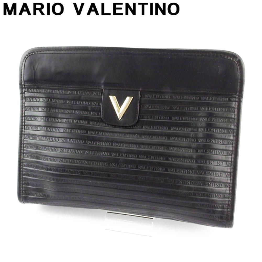 ヴァレンティノ 人気 中古 マリオ クラッチバッグ バック セカンドバッグ レディース メンズ VALENTINO MARIO レザー ストアー ブラック L3274 ゴールド 日本メーカー新品 Vマーク シルバー