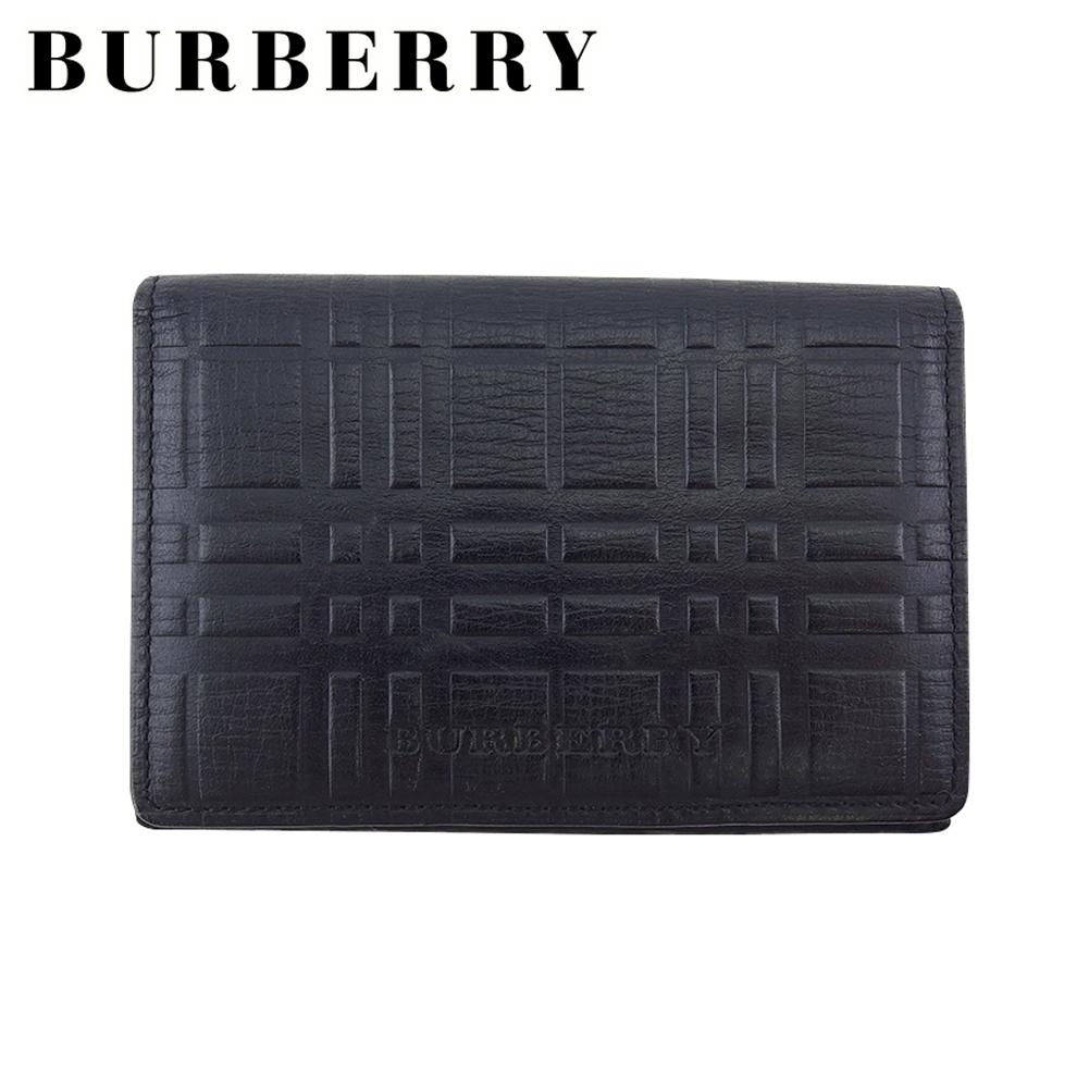 バーバリー 人気 【中古】 バーバリー カードケース 名刺入れ パスケース レディース メンズ チェック ブラック レザー BURBERRY L3437