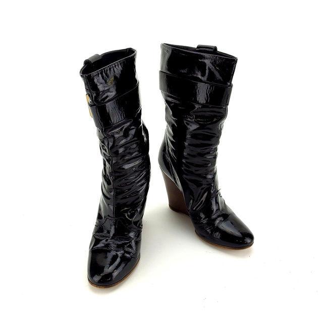 【中古】 クロエ Chloe ブーツ シューズ 靴 レディース ♯37 ミドル ブラック×ブラウン×ゴールド A1008 .