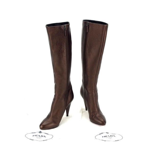Prada PRADA boots shoes shoes women   35 half-high heels long bronze  leather with Mint A1009 ☆ bd54dde9ee90