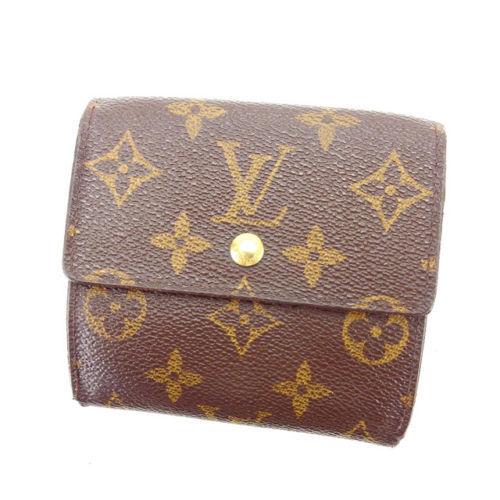 【中古】 ルイヴィトン Louis Vuitton Wホック財布 三つ折り財布 男女兼用 ポルトモネビエカルトクレディ モノグラム M61652 ブラウン モノグラムキャンバス A1132 .