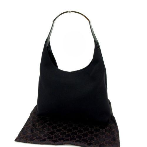 e720f4e75ba35f Gucci GUCCI shoulder bag one shoulder Lady's logo plate black X silver  canvas X enamel leather A1139