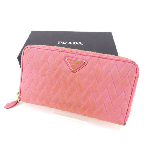 62fd142aed8c40 Prada PRADA long wallet zip Womens quilted slim pink * gold Nylon canvas /  leather with popular A1161 ☆
