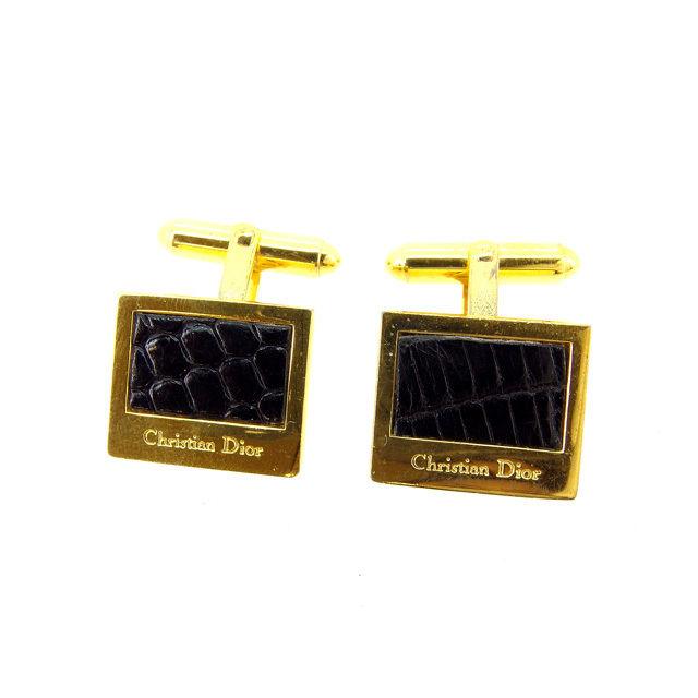 【中古】 クリスチャンディオール Christian Dior カフス メンズ ゴールド×ブラック ゴールド金具 A1238 .