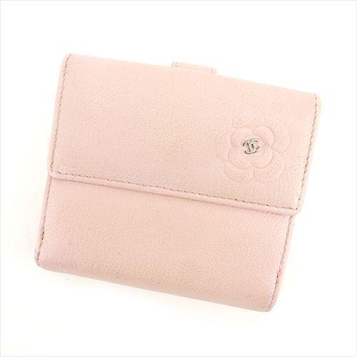 【中古】 シャネル CHANEL Wホック財布 二つ折り財布 レディース カメリア ピンク×シルバー レザー 人気 A1332