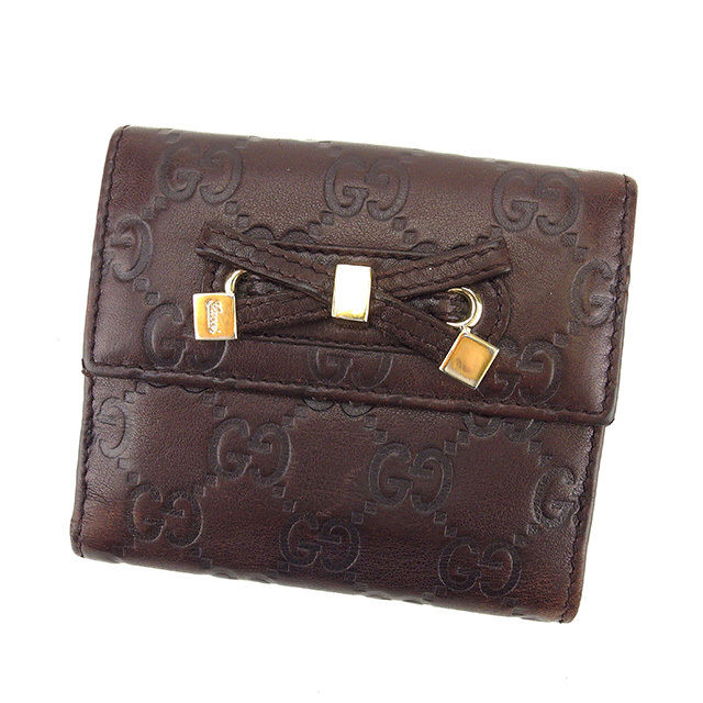 【中古】 グッチ GUCCI Wホック財布 二つ折り財布 レディース リボンモチーフ グッチシマ ブラウン×ゴールド レザー A1345 .