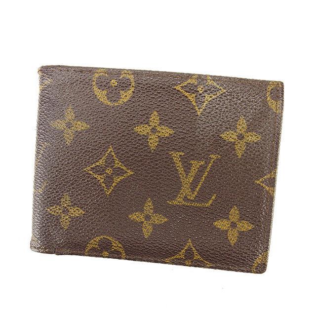 【中古】 ルイ ヴィトン Louis Vuitton 二つ折り札入れ メンズ可 ポルトフォイユミュルティプル モノグラム ブラウン モノグラムキャンバス A1359 .