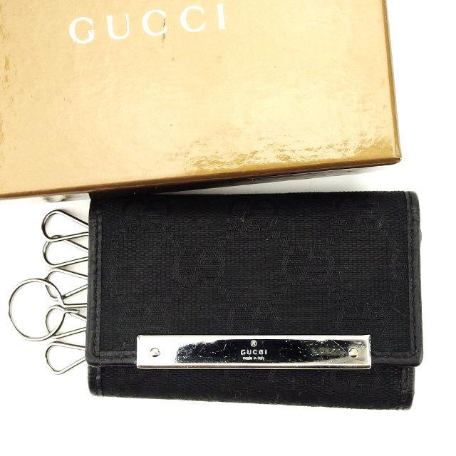 【中古】 グッチ Gucci キーケース 6連キーケース ブラック×シルバー GG柄 メンズ可 A1518s