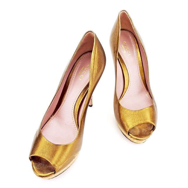【中古】 グッチ GUCCI パンプス #36 1/2 オープントゥ 靴 レディース ブロンズ レザー 人気 良品 A1544 .
