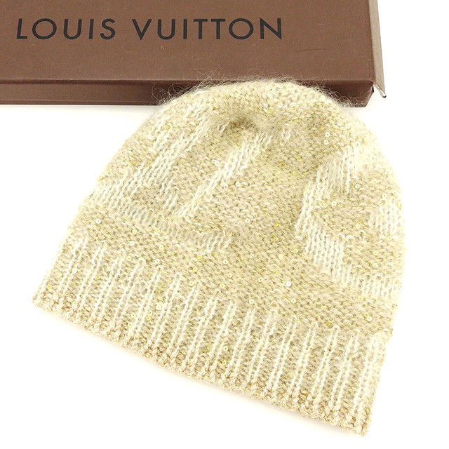 【中古】 ルイ ヴィトン Louis Vuitton 帽子 ニット帽 ベージュ スパンコール レディース A1545s
