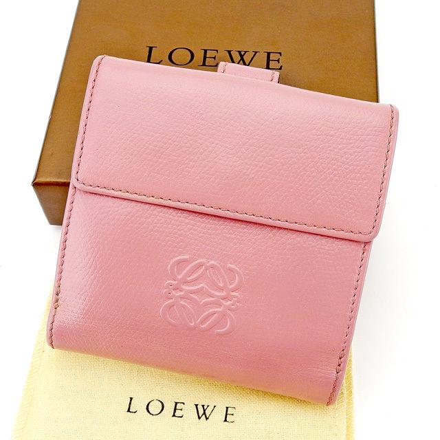 【中古】 ロエベ LOEWE Wホック財布 二つ折り 財布 メンズ可 アナグラム ピンク レザー 人気 良品 A1595 .