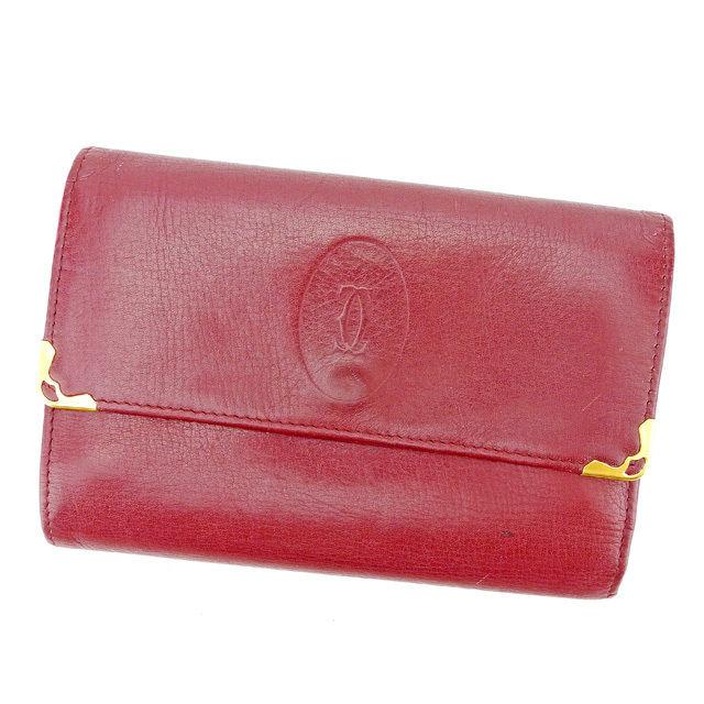 【中古】 カルティエ Cartier がま口 財布 三つ折り メンズ可 マストライン ボルドー×ゴールド レザー 人気 A1596 .