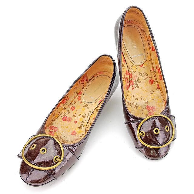 【中古】 ミュウミュウ miu miu パンプス #37 1/2 ローヒール シューズ 靴 レディース ブラウン×ゴールド エナメルレザー 人気 良品 A1610 .