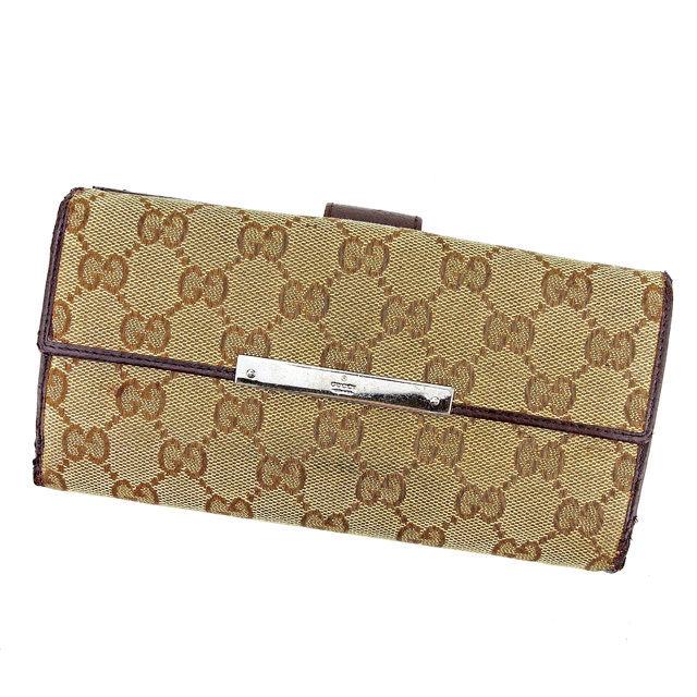 【中古】 グッチ Gucci Wホック 財布 長財布 二つ折り メンズ可 GGキャンバス ブラウン系 キャンバス×レザー 人気 A1623 .