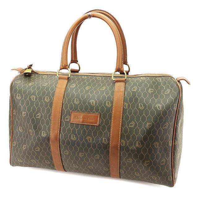 【中古】 ディオール ボストンバッグ トラベルバッグ 旅行用バッグ Dior カーキ×ブラウン×ゴールド A1640s