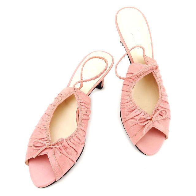 【中古】 クロエ Chloe サンダル シューズ 靴 レディース ♯36 スリングバック ギャザー&リボン ピンク系 レザー 良品 A1655