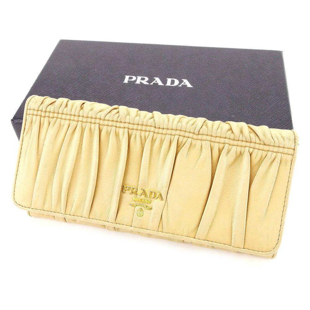 【中古】 プラダ PRADA ジップ長財布 二つ折り 財布 メンズ可 ベージュ レザー 人気 A1664