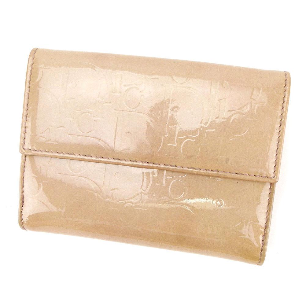 【中古】 ディオール Dior Wホック 財布 二つ折り 財布 レディース トロッター ピンク エナメルレザー 人気 A1697