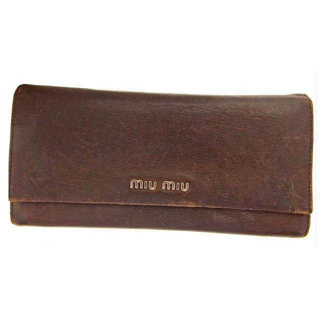 【中古】 ミュウミュウ miumiu 長財布 ブラウン レザー×シルバー素材 A170 .