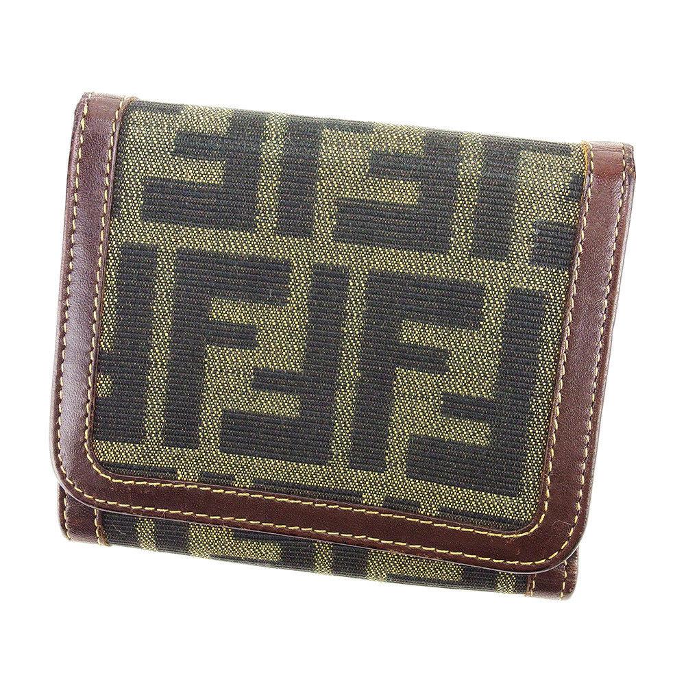 【中古】 フェンディ FENDI 三つ折り 財布 二つ折り 財布 レディース メンズ 可 ズッカ ブラック×ブラウン×ベージュ キャンバス×レザー 人気 A1705 .