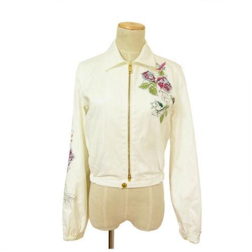 【中古】 ディースクエアード DSQUARED2 ジャケット 花柄刺繍 ホワイト コットン A273