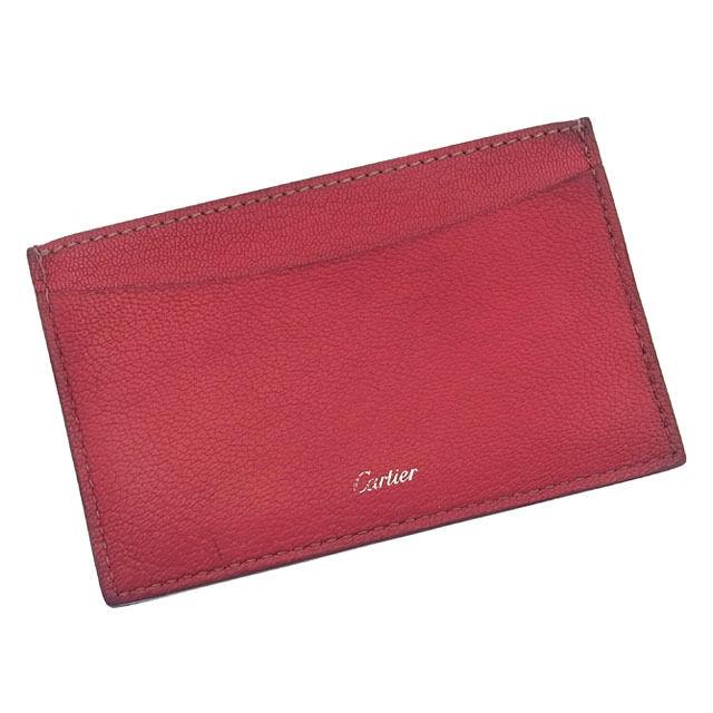 【中古】 カルティエ Cartier カードケース パスケース レディース ロゴ入り ピンク×シルバー A648 .