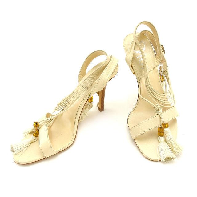 【中古】 クリスチャン・ディオール Christian Dior サンダル #36 レディース フリンジ ベージュ レザー A764 .