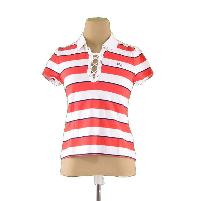 【値引きクーポン】 【中古】 バーバリー BURBERRY Tシャツ ホース刺繍 半袖 レディース ♯キッズ160Aサイズ ホワイト×レッド×ネイビー A800 .
