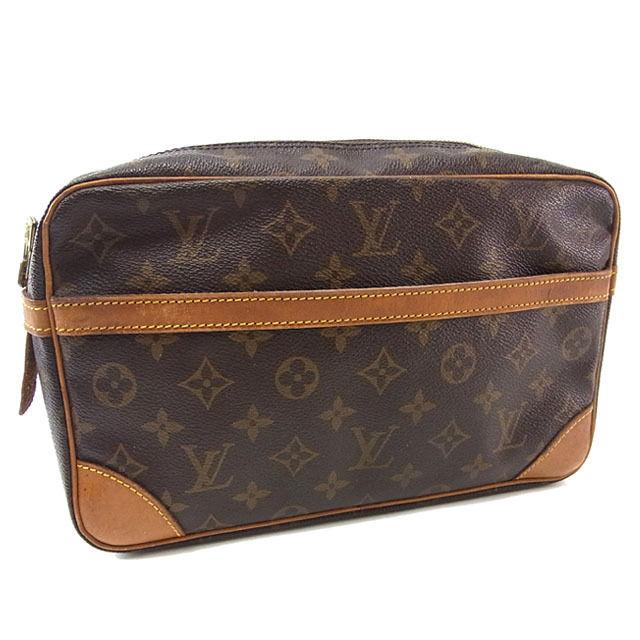 【中古】 ルイヴィトン Louis Vuitton セカンドバッグ クラッチバッグ メンズ可 コンピエーニュ28 モノグラム ブラウン モノグラムキャンバス A867 .