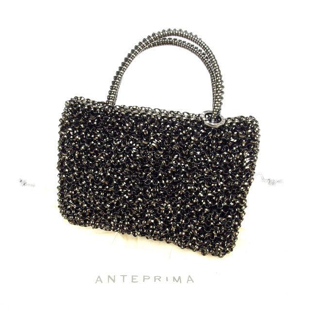 【中古】 アンテプリマ ANTEPRIMA ポーチ ミニハンドバッグ ブラック ワイヤー A889 .