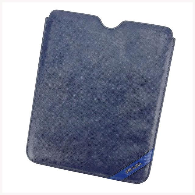 【中古】 プラダ PRADA iPadケース レディース ネイビー A914